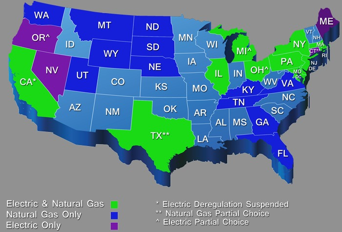 Energy Deregulation Map